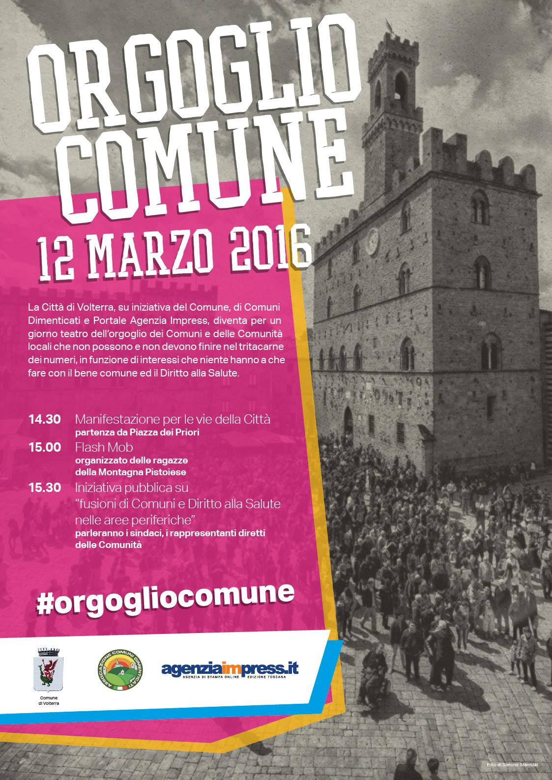 Locandina manifestazione di Volterra del 12 Marzo