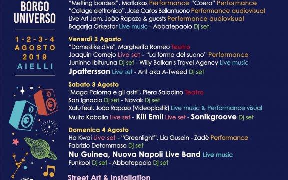 programma Borgo Universo 2019